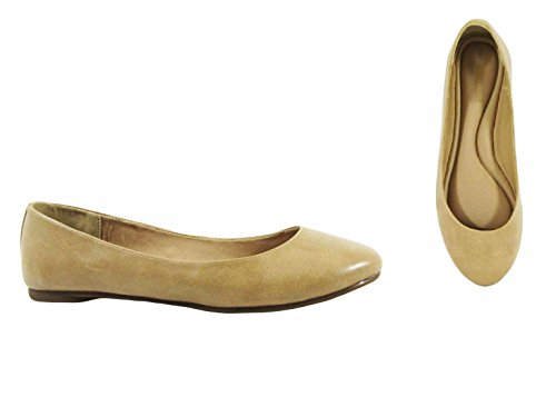 Camel Pointy On Women's Slip Angie Flats Ballet Classic Shoes Pu 53 Toe Marie Bella ATqCxXw7nz