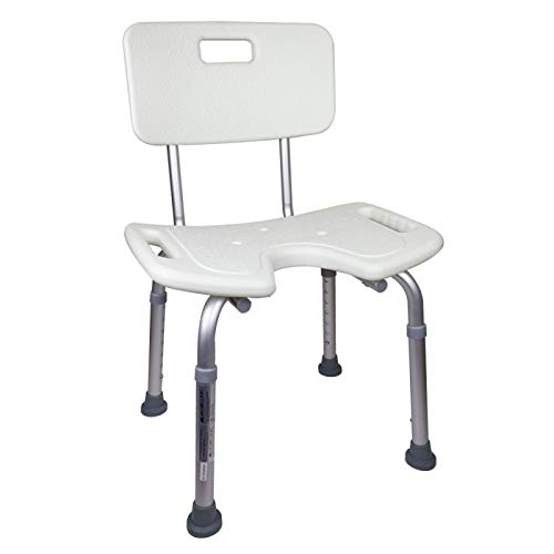 Mobiclinic, Marisma, Silla o taburete de bano, de ducha, ortopedica, altura regulable, respaldo, asiento en U, conteras antideslizantes