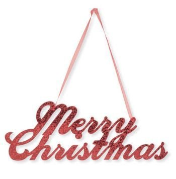 - Creative Converting Merry Christmas Glitter Sign with Ribbon Hanger, Red
