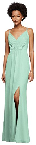 Long Bridesmaid Dress with Beaded Straps Style F19281, Mint, 0]()