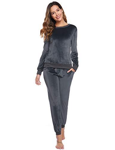 Abollria Pajamas Set Long Sleeve Sleepwear Womens Nightwear Soft Pj Lounge Sets Grey
