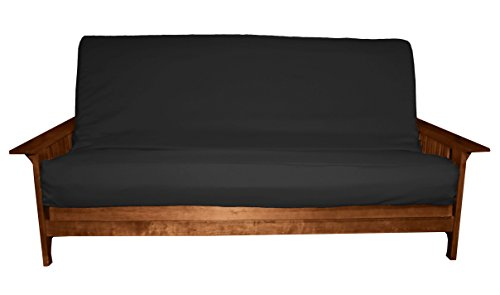 Twill Black Futon Cover (Better Fit Machine Washable Upholstery Grade Futon Cover , Queen 6-Inch-size, Twill Black)