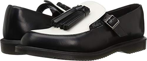 Dr. Martens Women's Gracia Mary Jane Flat, Black + White, 3 M UK (5 US)
