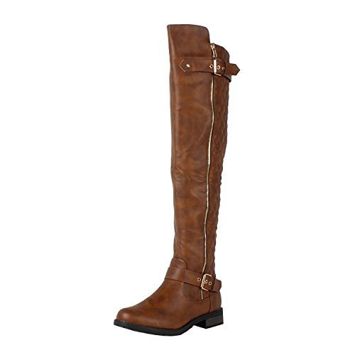 West Blvd Detroit Quilted Riding Thigh High Over The Knee Boots,Tan Pu,11