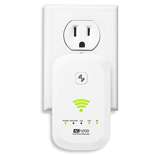 WiFi Range Extender, ELEGIANT 1200Mbps Wireless Signal Booster WiFi Repeater, Supports Router Mode/Repeater/ Access Point, 360 Degree Full WiFi Coverage, Easily Set Up -White by ELEGIANT