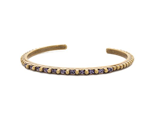 (Sorrelli Sakura Jewel Tone Purple Swarovski Crystal Antique Goldtone Studded Cuff Bracelet )