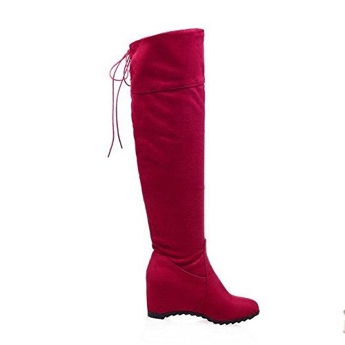 AllhqFashion Damen Rund Zehe Überknie Hohe Stiefel Mittler Absatz Rein PU Leder Stiefel, Rot, 39