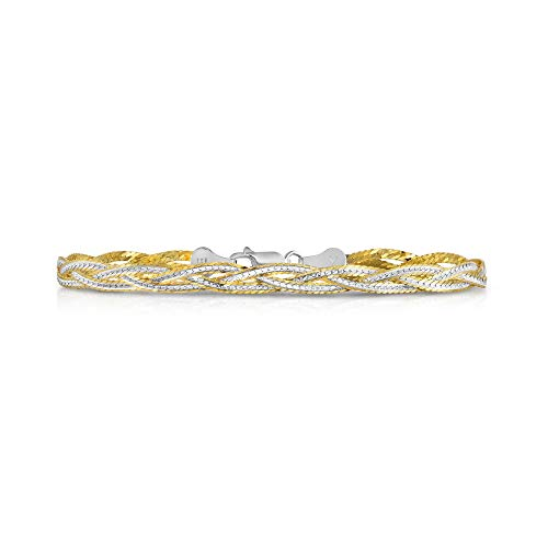 ling Silver Diamond Cut 3 Strand Row Herringbone Chain Bracelet and Necklace- 925 Braided Necklace and Bracelet, Braided Snake Chain (7.5, Two Tone Gold) ()