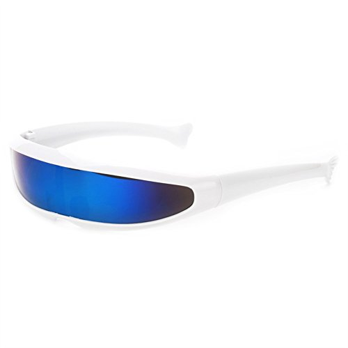 Futuristic Narrow Cyclops Sunglasses UV400 Personality Mirrored Lens Costume Eyewear Glasses Funny Party Mask Decoration (White, Blue) ()