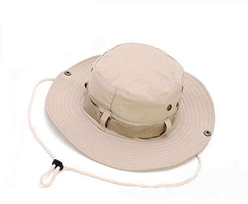 Lakkio Men's and Women's Cotton Outdoor Fishing Hat, Wide Round Sun Hat, Foldable Breathable Sun Visor, Summer UV Protection Boonie Hats-BE