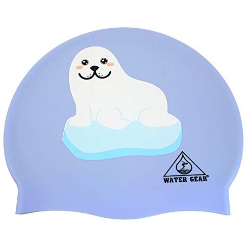 Water Gear Seal on Iceberg Graphic Silicone Swim Cap,Arctic Seal,One - Gear Swim Cap Water