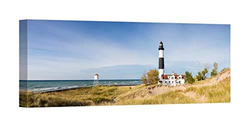 - Easy Art Prints Panoramic Images's 'Lighthouse on The Coast, Big Sable Point Lighthouse, Lake Michigan, Ludington, Mason County, Michigan, USA' Premium Canvas Art - 24