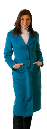Women Plus Size Maxi Full Length Wool Trench Coat Size 20-22 (2X, Aqua)