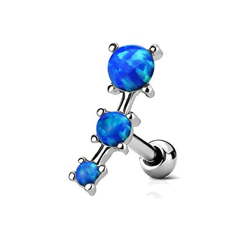 (MoBody 16G Triple Opal Prong Set Tragus Earring Surgical Steel Cartilage Helix Ear Piercing Stud (Blue))