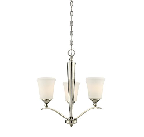 - Trade Winds Lighting TW021955PN Classic Opal 3-Light Chandelier in Polished Nickel