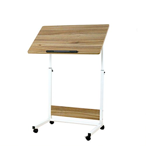 (Unicoo-Height Adjustable Laptop Cart, Computer Desk, Sofa Side Table, Couch Table Bedside Table, Drafting Table,Drawing Desk. (Ancient Oak U05))