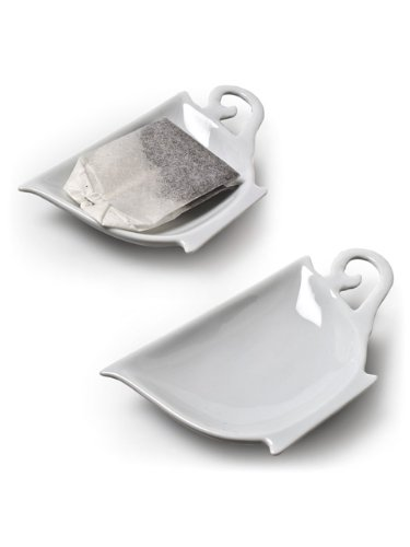 Set of 6 Pieces 4'' White Porcelain Teacup Teabag Tea Bag Holder Plate Dish by American Chateau