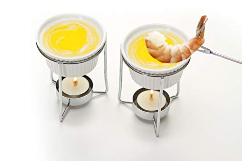 (Prepworks by Progressive Ceramic Butter Warmer Set, Fondue Warmer, 2 Tea Lights Included, Chrome Wire Stands, Dishwasher Safe - Set of 2)