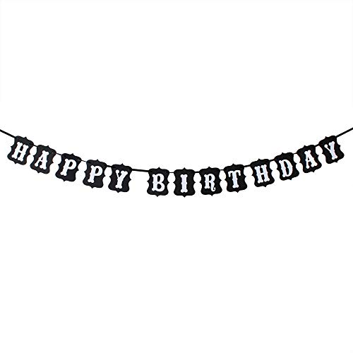 Happy Birthday White & Black Banner Birthday Party Decoration Photo Prop Sign Supplies HB. ()