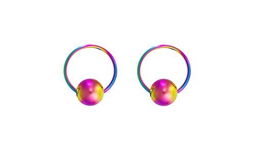 Forbidden Body Jewelry 20g 6mm Rainbow Surgical Steel Captive Bead Body Piercing Hoops (2pcs)