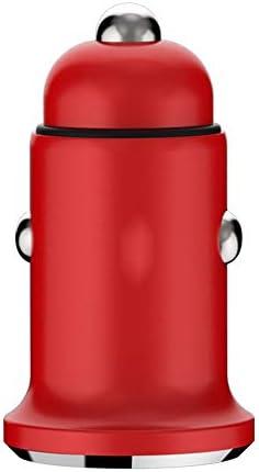 車の充電アダプタでUSB車の充電器、クイックチャージ自動車電話の充電器デュアルファスト同時に2つのデバイスを充電します (Color : Red)