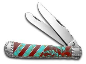 CASE XX Painted Pony Blue and Red Turquoise Trapper 1/50 Stainless Custom Knife Knives