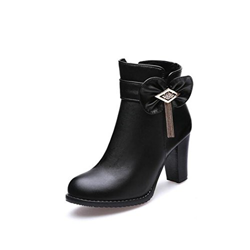 Round ZQ QXAutumn thick boots short shoes tie Black boots size female and waterproof code wild bow boots with Head high heeled Taiwan bare Winter qPtwwr01d