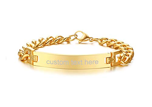 (Mealguet Jewelry MG Personalized Custom Engraving Plain Stainless Steel ID Bracelets for Men Women,Gold Plated,8.3