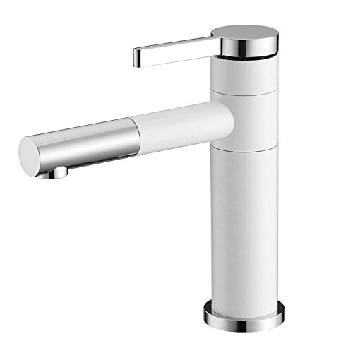 Modern Kitchen Sink Faucet Pull-out spout head kitchen sink basin mixer tap solid brass hot and cold water sink faucet with spout rotating (White Lever Basin Pillar Taps)