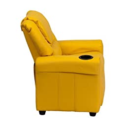 Contemporary Kids Recliner- Enjoy the Comfort That Adults Experience- Has a Strong Wood Frame With Soft Foam in Durable Vinyl Upholstery- With a Cup Holder- Yellow Color*