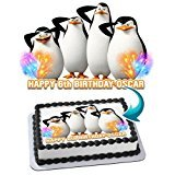 Madagascar Penguins Edible Cake Topper Personalized Birthday 1/2 Size Sheet Decoration Party Birthday Sugar Frosting Transfer Fondant Image - Birthday Madagascar Cake