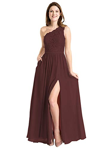 - Plus Size Bridesmaid Dresses One Shoulder Lace Bodice Prom Formal Party Gowns with Slit Size 18W Burgundy