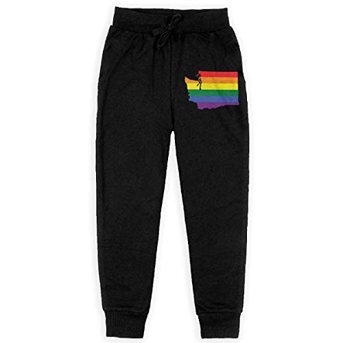 (Men's Fit Sweatpant, 100% Cotton Washington State LGBT Pride Running Pants for Youth Black)