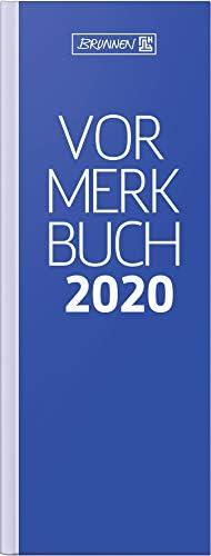 BRUNNEN 107840230 Tischkalender/Vormerkbuch Modell 784 (1 Seite = 2 Tage, 11,0 x 29,7 cm, Deckenband, Kalendarium 2020) blau