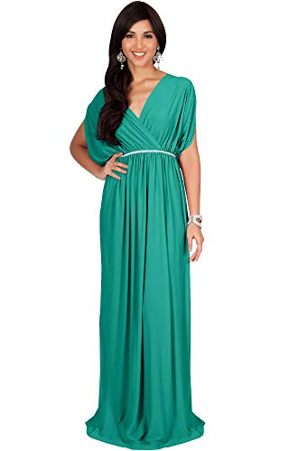 KOH KOH Plus Size Womens Long Cocktail Empire Waist Short Sleeve Formal V-Neck Bridesmaid Summer Flowy Bridesmaids Wedding Guest Grecian Gown Gowns Maxi Dress Dresses, Turquoise 2XL 18-20]()