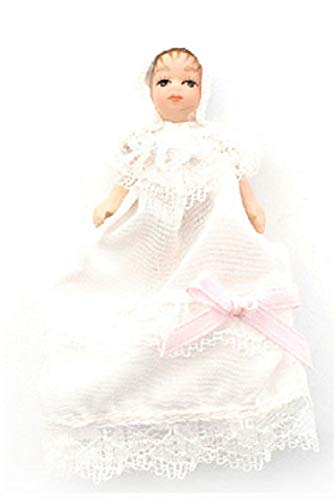 Melody Jane Dollhouse Victorian Baby in Christening Gown Miniature Porcelain People