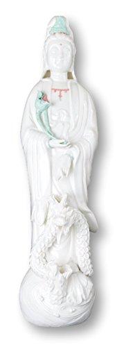 (Dripping Guanyin Buddha Statue, Fine Porcelain Ceramic Quan Yin Buddha with Lotus Standing Over Sea and Three Dragon Statue, Guanyin, Kwan Yin, Kuanyin, Goddess of Mercy (24))