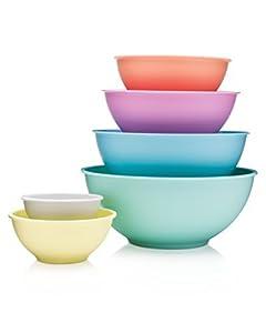 Francois et Mimi 6 Piece Colorful 100% Melamine Mixing Bowls, Mixing Bowl Set