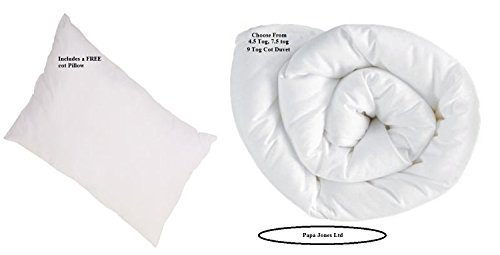 Cot Bed Duvet 4.5 Tog Anti Allergy Filling- 120 x 150 cm with Cot Bed Pillow by Papa Jones Ltd. (4.5 Tog cot Duvet + Pillow) by Papa Jones (Jones Duvet)