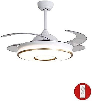 BUKEHANWEI Ventilador Invisible con Lámpara, Plafones LED Ajustables, 4 Aspas Retráctiles del Ventilador, con Mando A Distancia (Color : Y42116 Gold 108cm): Amazon.es: Hogar