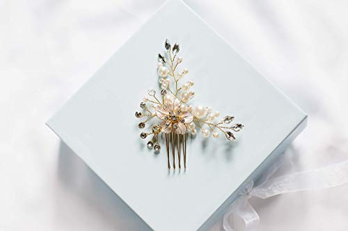 Lillian - vintage inspired hair comb, bridal hair comb, wedding hair piece, pearl hair comb, bridal hair accessory, bridal headpiece by Shirley & Audrey