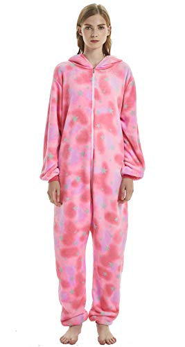 Unisex-Adult Onesie Pajamas Unicorn Animal Sleepwear for Halloween Party Costumes,Daily Cartoon Outfit Pink Star Unicorn M