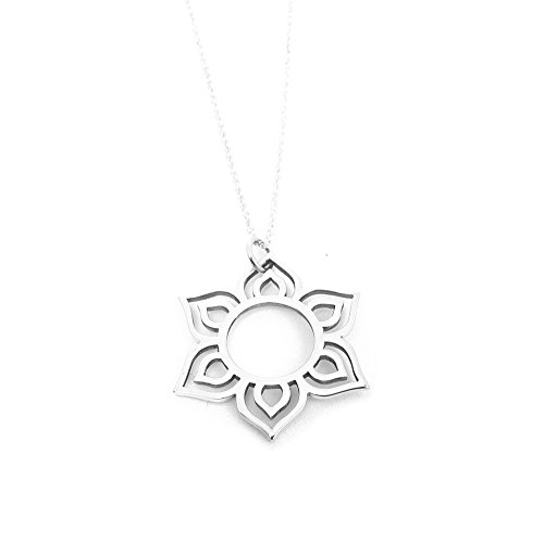 Sunburst Lotus Flower Pendant Necklace Sterling Silver Yoga Inspired Charm Jewelry Mehndi Flower (16 Inches)