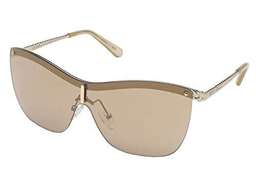 (GUESS Women's Gu7471 Shield Sunglasses, gold & brown mirror, 00 mm)