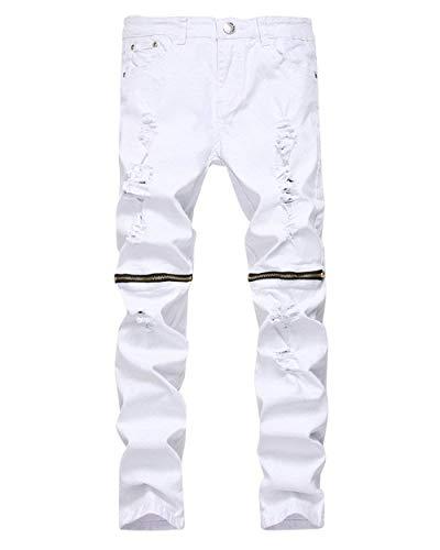 Rasgados Pantalones Skinny Fashion De Whiteblack Delgados Estiramiento Ocasionales Retro De Pantalones De De del Cierre Pantalones De Lannister Hombres Mezclilla Los Mezclilla Mezclilla Destruidos FH4Hq
