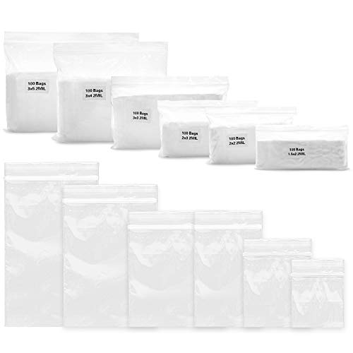 600 Pack Clear 2 MIL Thick Resealable Poly Ziplock Bags. 6 Assorted Sizes, Durable Food Grade Safe PP Plastic Zip Baggies for Jewelry, Bead, Toy Piece, Pill, Snack, 1.5x2 2x2 2x3 3x3 3x4 3x5 Inches. ()