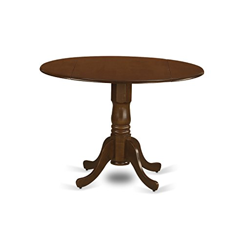 East West Furniture DLT-ESP-TP Dublin Round Table with Two Drop Leaves, 9″, Saddle Brown Finish