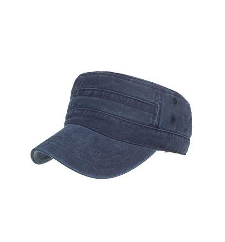 Pausseo Sun Hat, Washed Cotton Military Caps Cadet Caps Unique Design Vintage Flat Top Cap ()