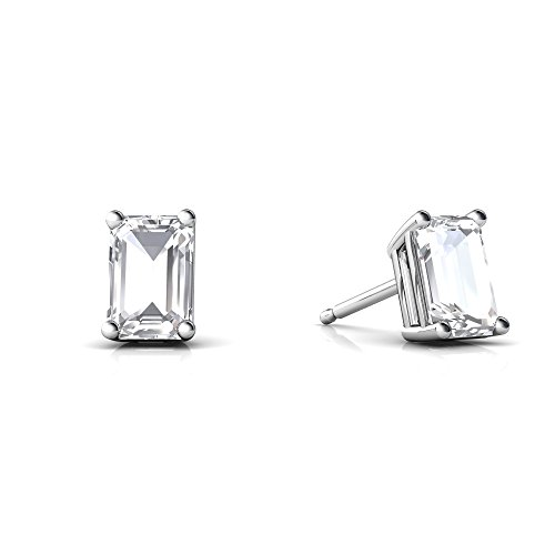 Emerald 6x4 Gold 14kt (14kt White Gold White Topaz 6x4mm Emerald_Cut Emerald-Cut Stud Earrings)
