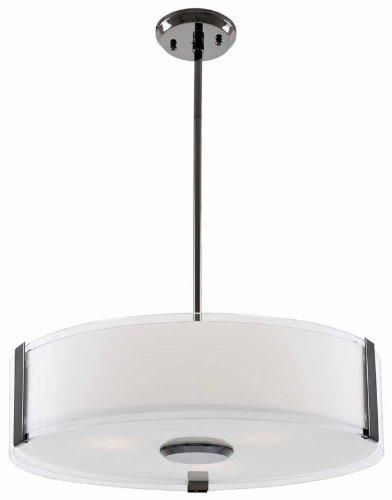 DVI Lighting DVP14506SN-SSOP Pendant with Silk Screened Opal Glass Shades, Satin Nickel Finish (Ssop Satin)